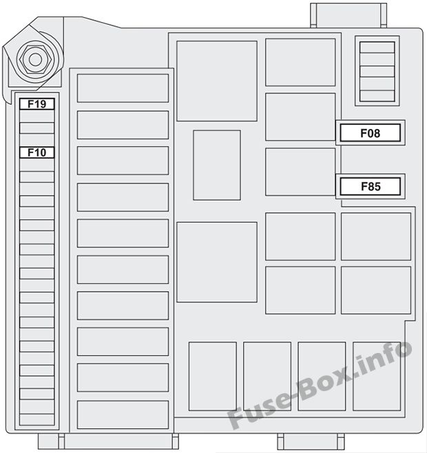 Under-hood fuse box diagram (ver.1): Fiat Bravo (2014, 2015)Fiat Bravo (2014, 2015)