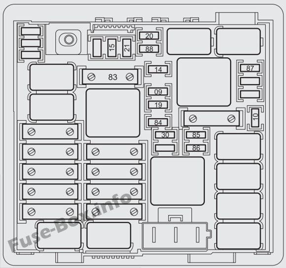 Under-hood fuse box diagram: Fiat Punto (2014, 2015, 2016, 2017)