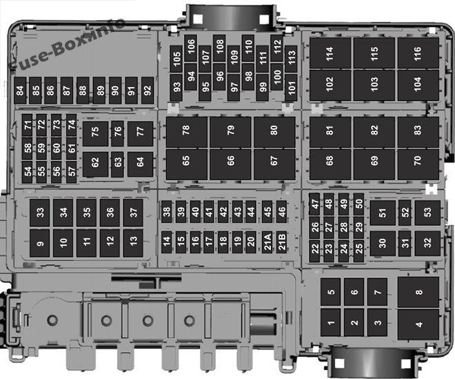 Under-hood fuse box diagram: Ford F-150 (2016)