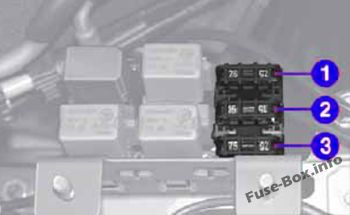 Engine compartment, fusebox B: Fiat Seicento / 600 (2007, 2008, 2009, 2010)