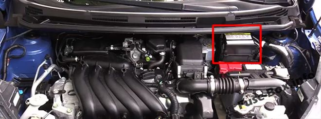The location of the fuses in the engine compartment: Nissan Versa Note / Note (2013-2018)