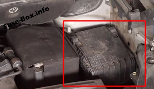 The location of the fuses in the engine compartment: Volkswagen Caddy (2003-2010)