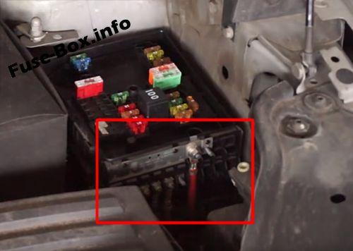 Pre-fuse box location: Volkswagen Caddy (2003-2010)