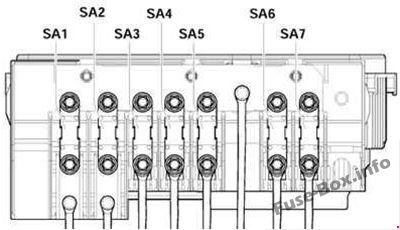Pre-fuse box (version 1): Volkswagen Golf V (2004, 2005, 2006, 2007, 2008, 2009)