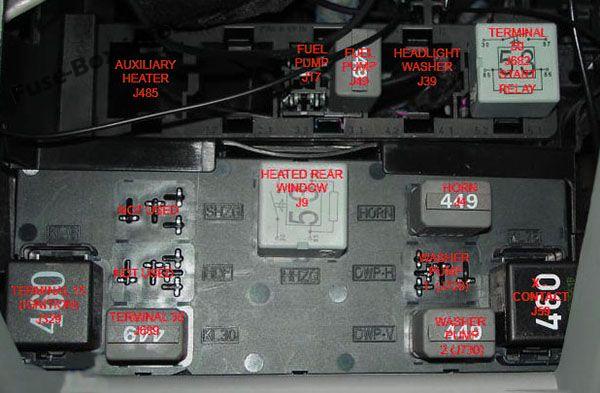 Relay carriers under driver side dash panel: Volkswagen Passat B6 (2005, 2006, 2007, 2008, 2009, 2010)