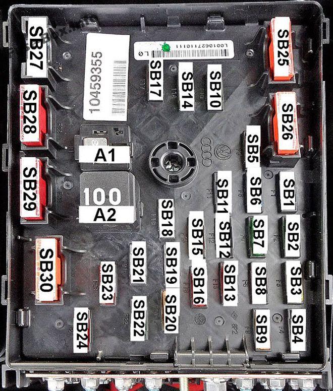 Under-hood fuse box diagram (type 2): Volkswagen Passat B6 (2005, 2006, 2007, 2008, 2009, 2010)