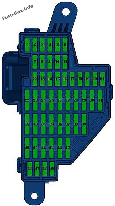 Instrument panel fuse box diagram (left): Volkswagen Passat B7 (2011, 2012, 2013, 2014, 2015)
