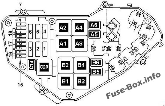 Under-hood fuse box diagram: Volkswagen Touareg (2006, 2007, 2008, 2009, 2010)