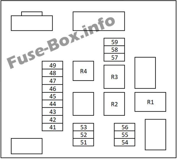 Under-hood fuse box #2 diagram: Nissan Qashqai / Qashqai+2 (2007-2013)