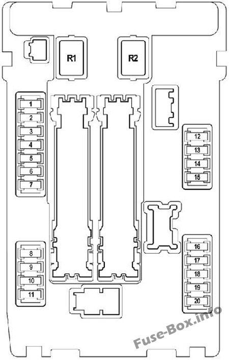 Under-hood fuse box #1 diagram: Nissan Teana (2009-2014)