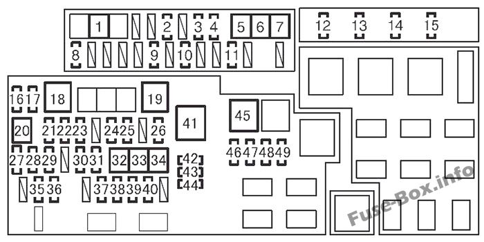 Under-hood fuse box diagram: Toyota 4Runner (2010, 2011, 2012, 2013, 2014, 2015, 2016, 2017)