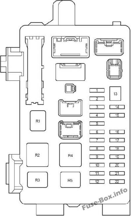 Instrument panel fuse box #1 diagram: Toyota Avensis II (2003, 2004, 2005, 2006, 2007, 2008, 2009)