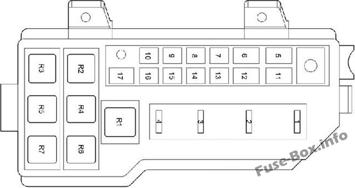 Fuse Box in the Engine Compartment (diagram): Toyota HiAce (2005-2013)