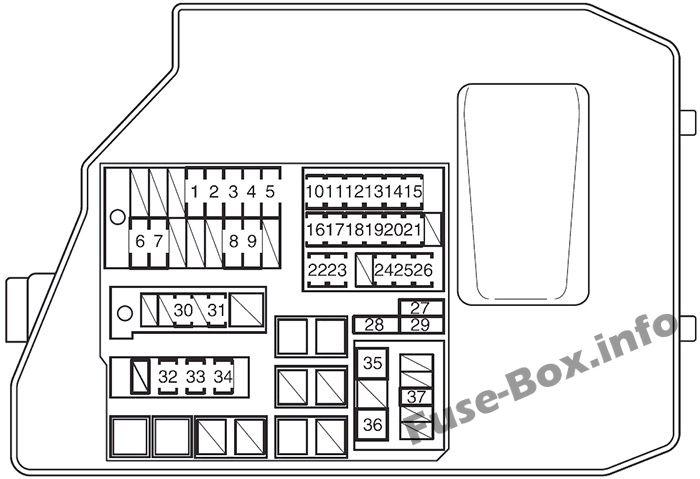 Under-hood fuse box diagram: Toyota Matrix (2009, 2010, 2011, 2012, 2013, 2014)