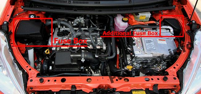 The location of the fuses in the engine compartment: Toyota Prius C (2012-2017)