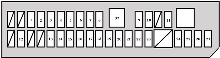Fuse Box №1 (in the instrument panel): Toyota Dyna (2011, 2012, 2013, 2014, 2015, 2016, 2017, 2018)