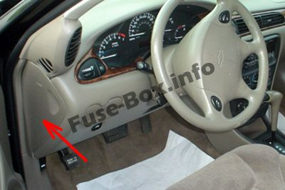 The location of the fuses in the passenger compartment: Chevrolet Malibu (1997, 1998, 1999, 2000, 2001, 2002, 2003)