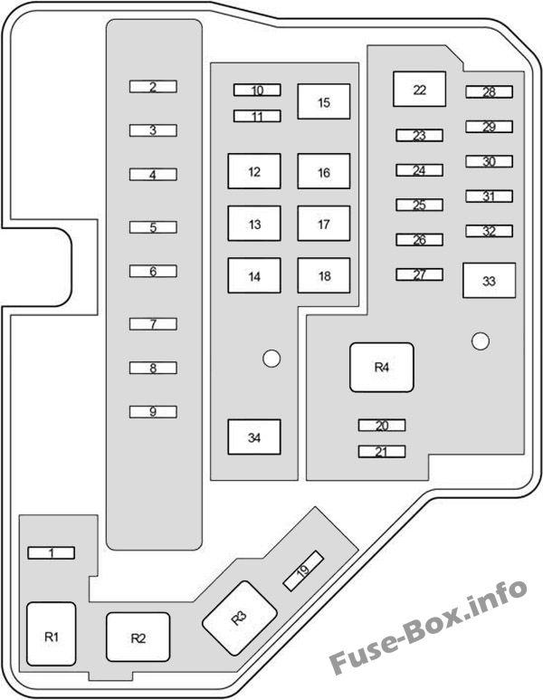 Under-hood fuse box #1 diagram: Toyota Yaris / Echo / Vitz (2011-2018)