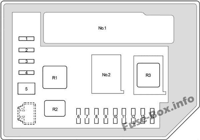 Under-hood fuse box #2 diagram: Toyota Yaris / Echo / Vitz (2011-2018)