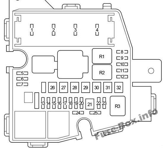 Under-hood fuse box diagram: Toyota Yaris / Vitz / Belta (2005-2013)