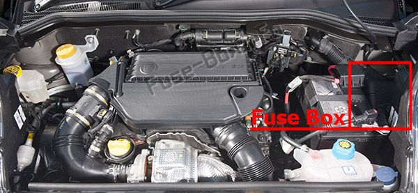 The location of the fuses in the engine compartment: Fiat Qubo / Fiorino (2014, 2015, 2016, 2017, 2018)