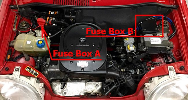 The location of the fuses in the engine compartment: Fiat Seicento / 600 (2007, 2008, 2009, 2010)