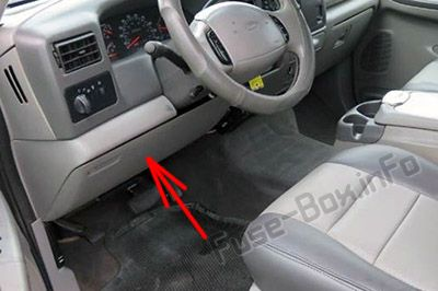 The location of the fuses in the passenger compartment: Ford F-250 / F-350 / F-450 / F-550 (2002, 2003)