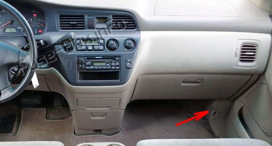 The location of the fuses in the passenger compartment: Honda Odyssey (2000-2004)