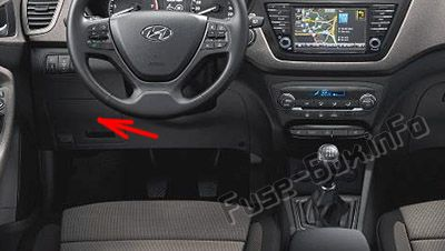 The location of the fuses in the passenger compartment (LHD): Hyundai i20 (2015-2018)