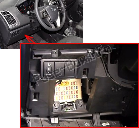 The location of the fuses in the passenger compartment: Hyundai i20 (2008-2014)