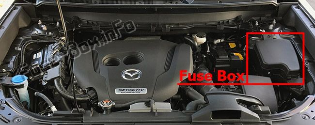 The location of the fuses in the engine compartment: Mazda CX-9 (2016-2019-...)