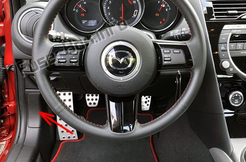 The location of the fuses in the passenger compartment: Mazda RX-8 (2004-2011)