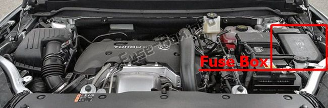 The location of the fuses in the engine compartment: Buick Envision
