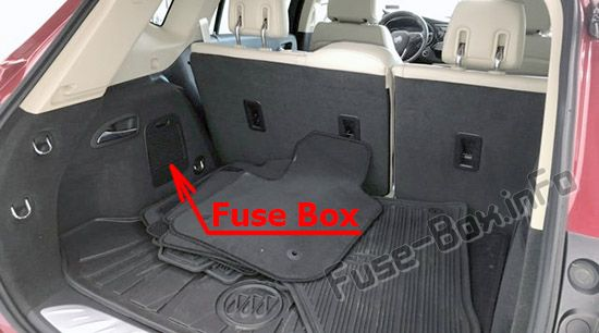 The location of the fuses in the trunk: Buick Envision