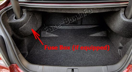The location of the fuses in the trunk: Buick LaCrosse (2010, 2011, 2012)