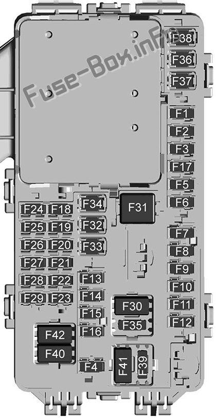 Interior fuse box diagram: Cadillac XT5