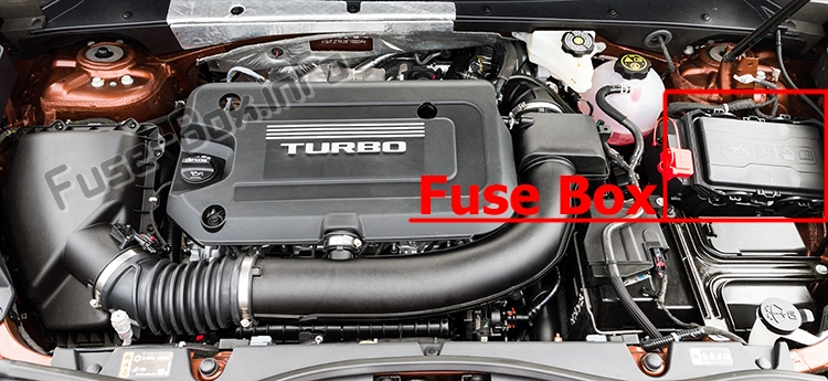 The location of the fuses in the engine compartment: Cadillac XT4 (2019)