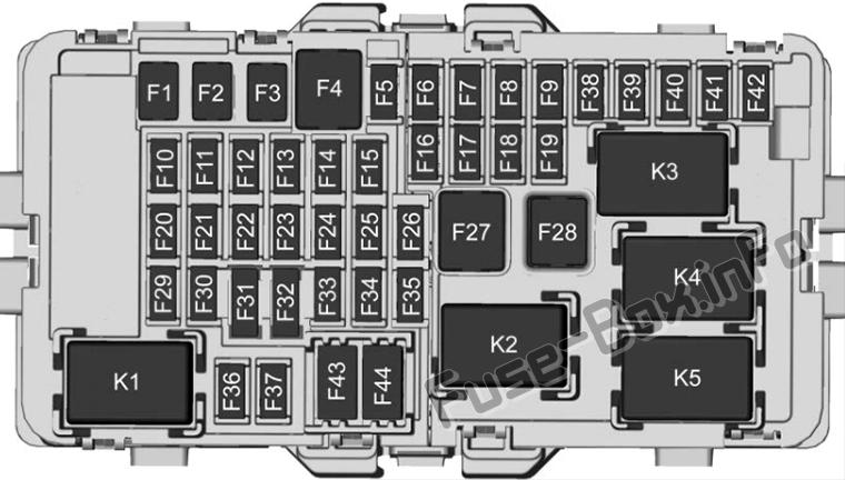 Instrument panel fuse box diagram: Cadillac XT4 (2019)