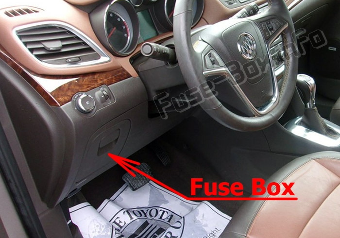 The location of the fuses in the passenger compartment: Buick Encore (2013-2019)