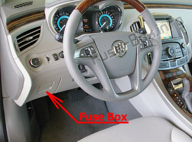The location of the fuses in the passenger compartment: Buick LaCrosse (2010-2016)