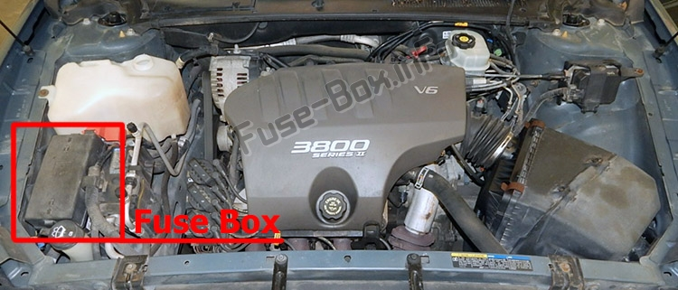 The location of the fuses in the engine compartment: Buick LeSabre (2000-2005)