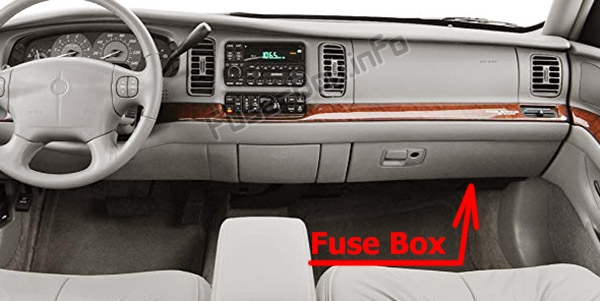 The location of the fuses in the passenger compartment: Buick Park Avenue (1997-2005)