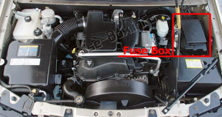 The location of the fuses in the engine compartment: Buick Rainier (2003-2007)
