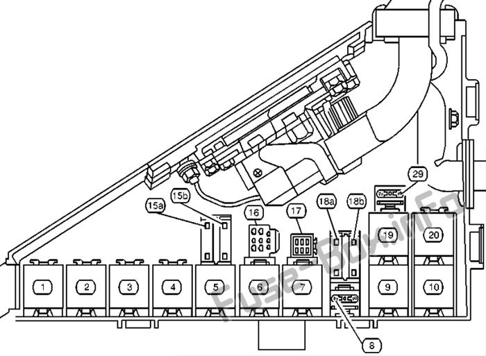 Under-hood fuse box diagram: Cadillac Catera (2000, 2001)