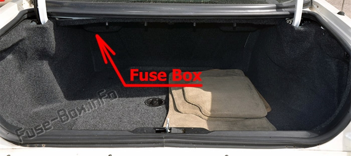 The location of the fuses in the trunk: Cadillac Eldorado (1997-2002)
