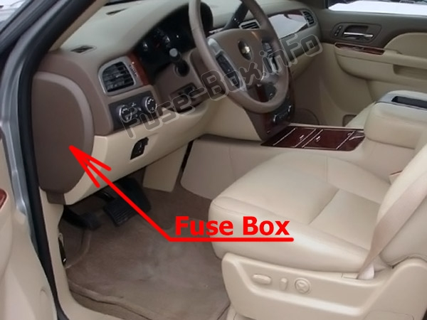 The location of the fuses in the passenger compartment: Chevrolet Avalanche (GMT900; 2007-2013)