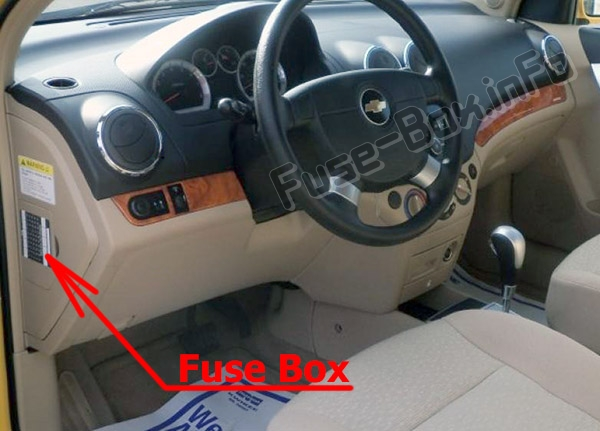 The location of the fuses in the passenger compartment: Chevrolet Aveo (2007-2011)