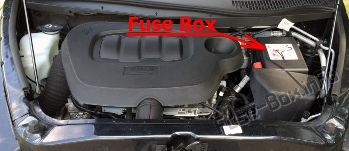 The location of the fuses in the engine compartment: Chevrolet HHR (2006-2011)
