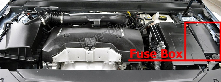 The location of the fuses in the engine compartment: Chevrolet Impala (2014-2019)