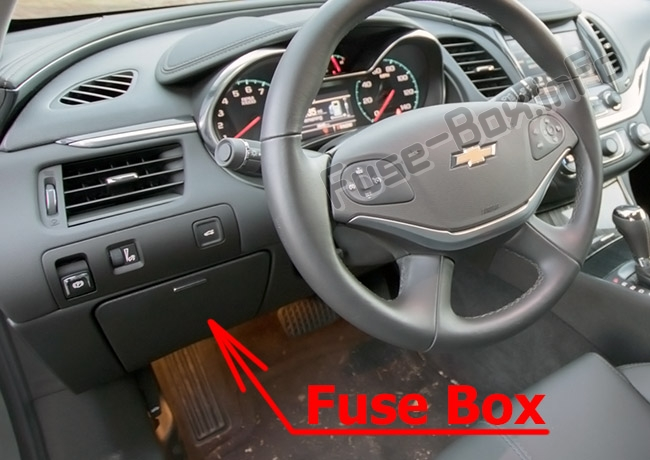 The location of the fuses in the passenger compartment: Chevrolet Impala (2014-2019)